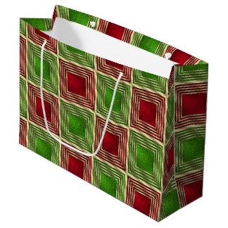 Cuadrados festivos brillantes bolsa de regalo grande