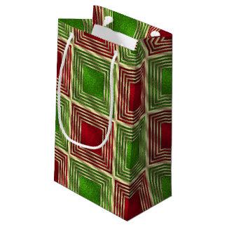 Cuadrados festivos brillantes bolsa de regalo pequeña
