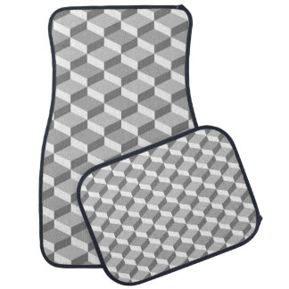 Cuadrados geométricos grises y blancos de la alfombrilla de coche