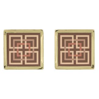 Cuadrados geométricos, marrón modernos y moreno gemelos dorados
