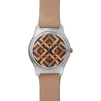 Cuadrados geométricos, marrón modernos y moreno relojes de mano