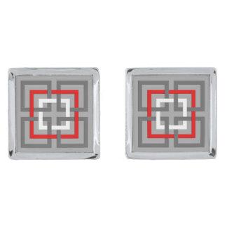 Cuadrados, gris, rojo y blanco geométricos gemelos plateados