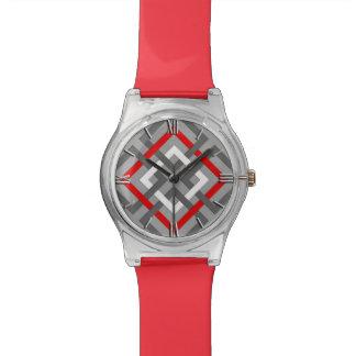 Cuadrados, gris, rojo y blanco geométricos reloj de mano