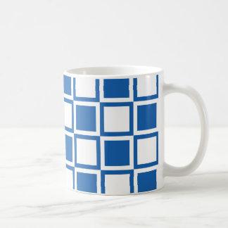 Cuadrados intrépidos azules de la MOD del dril de Taza De Café