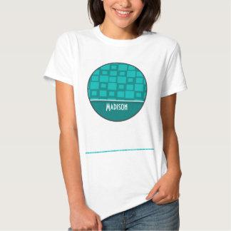 Cuadrados lindos de la turquesa camiseta