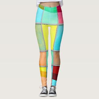 Cuadrados multicolores leggings