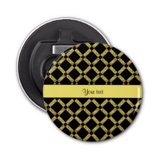 Cuadrados negros y amarillos elegantes abrebotellas