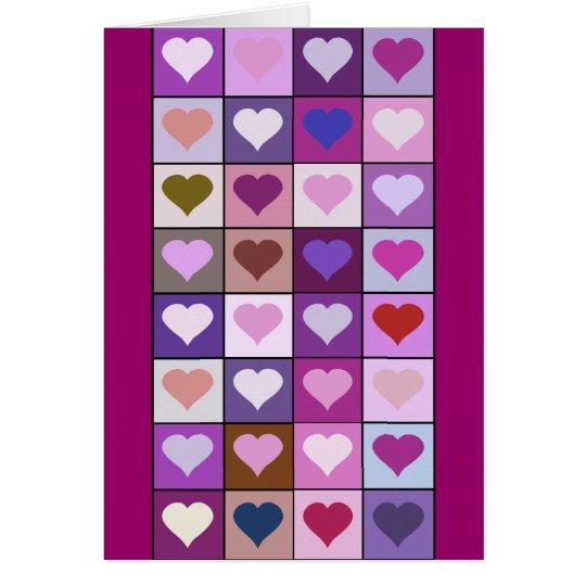 Cuadrados púrpuras y rosados del corazón tarjeta de felicitación