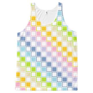 Cuadrados resumidos arco iris en colores pastel camiseta de tirantes con estampado integral