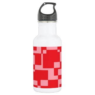 cuadrados Rojo-rosados Botella De Agua