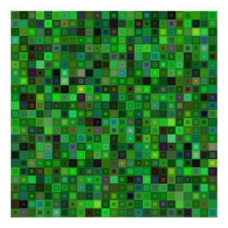 Cuadrados verdes del tono póster