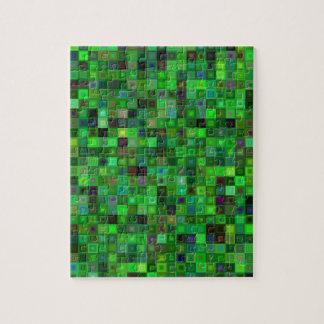 Cuadrados verdes del tono puzzle
