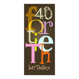 Cuadragésimas invitaciones de la fiesta de invitación 10,1 x 23,5 cm