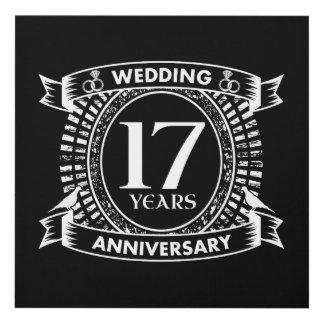 Cuadro 17mo aniversario de boda blanco y negro