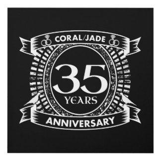 Cuadro 35to escudo coralino del jade del aniversario de
