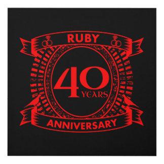 Cuadro 40.o escudo del rubí del aniversario de boda