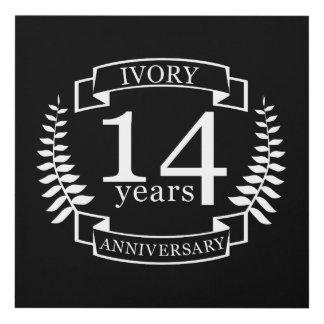 Cuadro Aniversario de boda de marfil 14 años