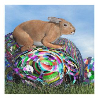 Cuadro Conejo en su huevo colorido para Pascua - 3D