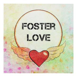 Cuadro Corazón adoptivo de la acuarela del amor