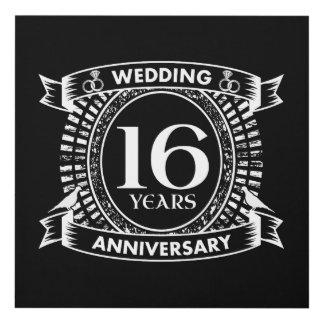 Cuadro décimosexto aniversario de boda blanco y negro