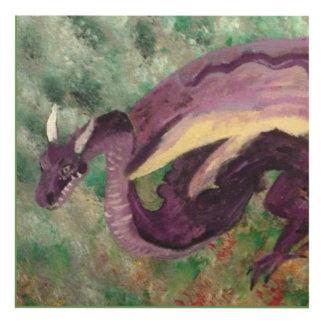 Cuadro Dragón púrpura en fondo brumoso verde