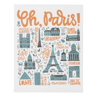 Cuadro ¡Oh, París! tipografía de la ciudad del |
