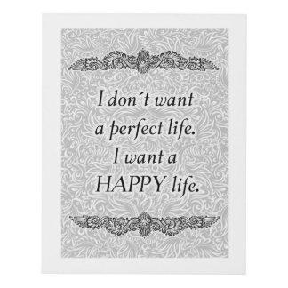 Cuadro Quiero una vida feliz - Quote´s positivo