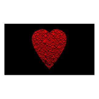 Cuadro rojo brillante del corazón tarjetas de visita