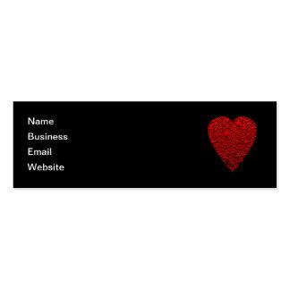 Cuadro rojo brillante del corazón tarjetas de visita mini