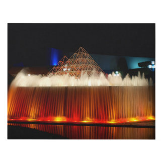 Cuadro Rojo, naranja y foto iluminada amarillo de la