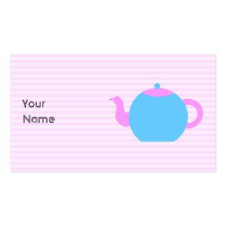 Cuadro rosado y azul de la tetera tarjetas de visita