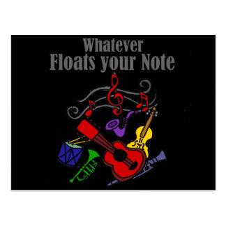 Cualesquiera flotadores su diseño de la nota postal