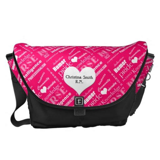 Cualidades/rosa del orgullo de la enfermera bolsas de mensajería