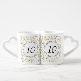 Cualquie confeti del oro y de la plata del set de tazas de café