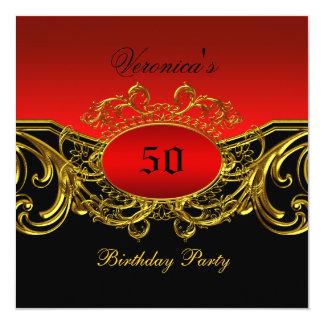 Cualquie oro negro rojo elegante de la fiesta de invitación 13,3 cm x 13,3cm