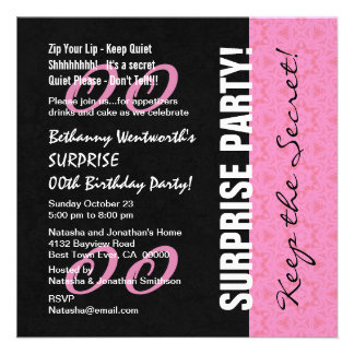 Cualquie ROSADO del cumpleaños V07 de la SORPRESA  Invitaciones Personalizada