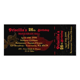 cualquier edad, vigésima sexta, styl del boleto de invitación 10,1 x 23,5 cm
