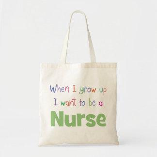 Cuando crezco a la enfermera bolsa tela barata