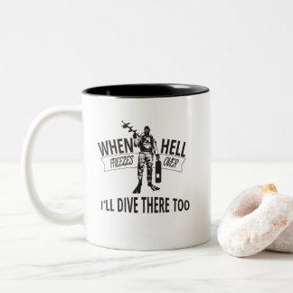 Cuando el infierno congela encima, me zambulliré taza de café de dos colores