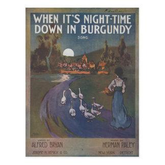 Cuando es noche trague en la postal de Borgoña