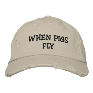 Cuando los cerdos vuelan el gorra del tipo de tela gorros bordados