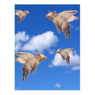 Cuando los cerdos vuelan postal
