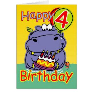 Cuarto cumpleaños feliz tarjeta de felicitación