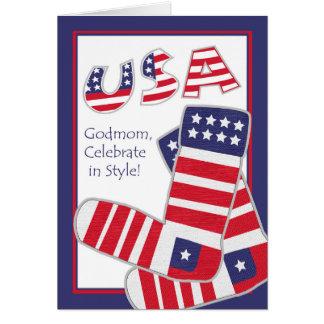 Cuarto de julio para la madrina, calcetines tarjeta de felicitación