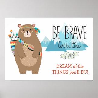 Cuarto de niños lindo del oso tribal valiente póster