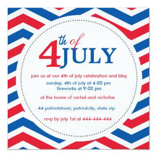 Cuarto del personalizado del 4 de julio julio invitación 13,3 cm x 13,3cm