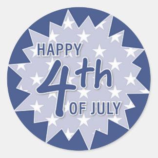 Cuarto feliz del pegatina de julio (azul)