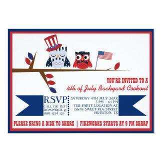 Cuarto patriótico lindo de los búhos de la invitación 12,7 x 17,8 cm