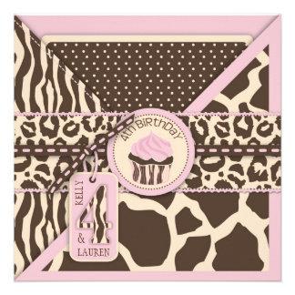Cuartos GEMELOS rosados del cumpleaños del safari  Anuncios Personalizados