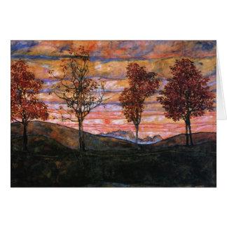 Cuatro árboles tarjeta de felicitación